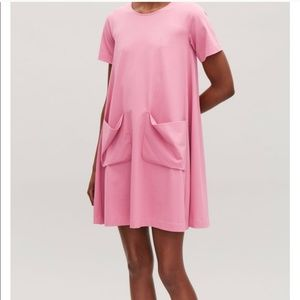 NWT COS A-Line Swing Jersey Pockets Dress Pink L